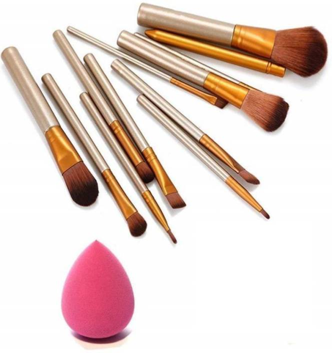 skinplus makeup brushes kit with sponge puff (Pack of 12)