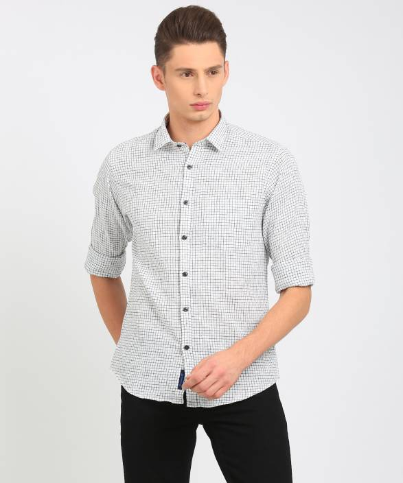 CAVALLO by Linen Club Men's Checkered Casual White Shirt