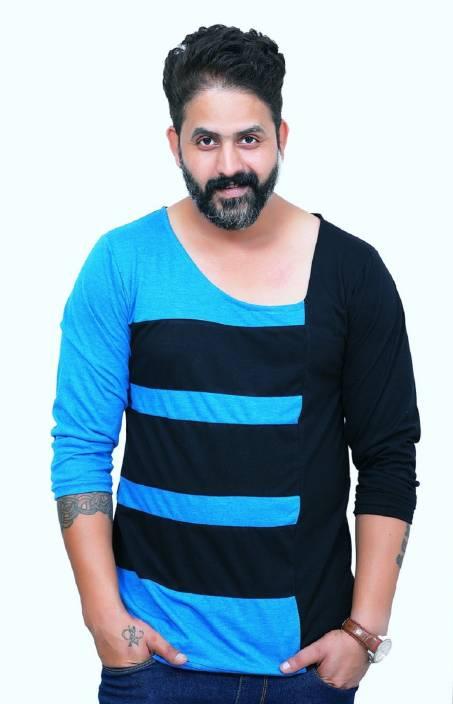 b6bd1234d EG Striped Men Scoop Neck Black T-Shirt - Buy EG Striped Men Scoop Neck  Black T-Shirt Online at Best Prices in India | Flipkart.com