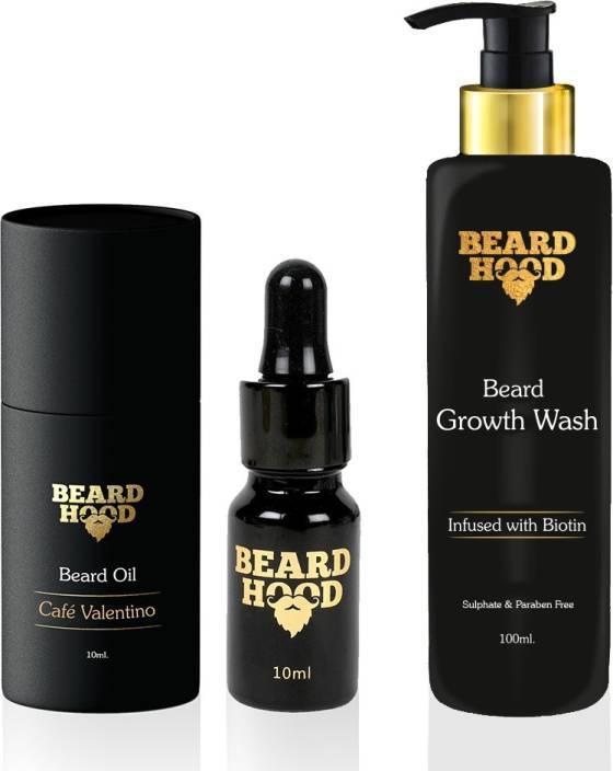 Beardhood Café Valentino Beard Oil (10ml) & Beard Growth Wash (100ml)