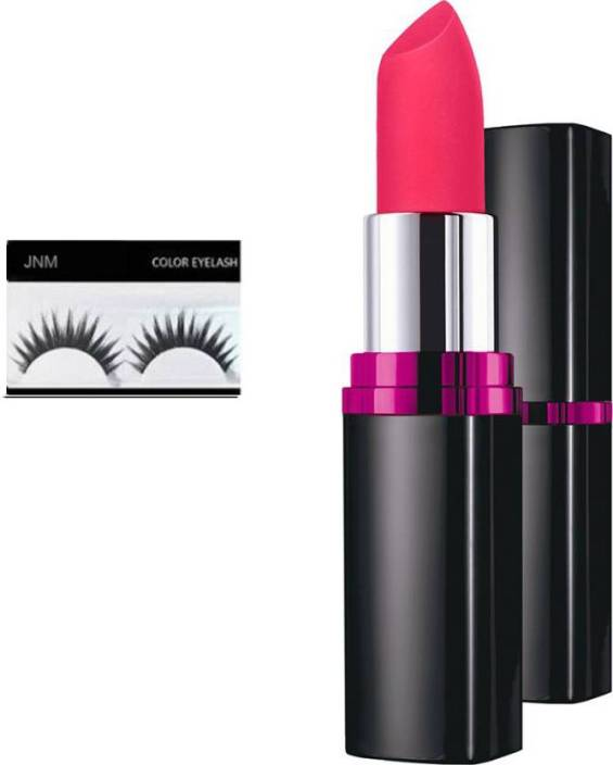 7c9fb668e5b jnm Maybelline Color Show Creamy Matte Lipcolor (M104 Flaming Fuchsia) with  eyelashes (set of 2) (Set of 2)