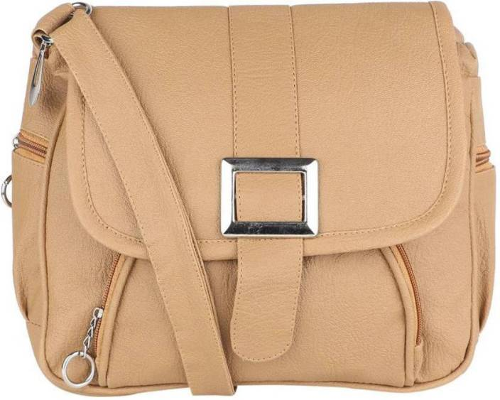 Franklee Women Casual Beige Leatherette Sling Bag