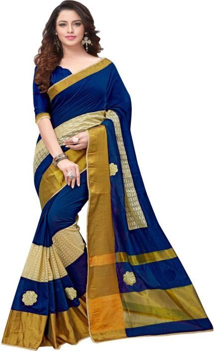 a6f00123dd667e Cozee Shopping Embroidered Bollywood Cotton Silk Saree (Dark Blue)
