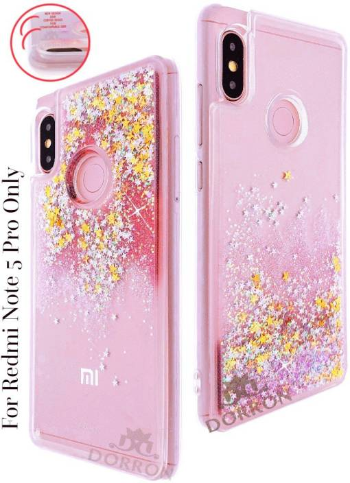 half off 3929f 56cf6 DORRON Back Cover for Mi Redmi Note 5 Pro, Mi Redmi Note 5 Pro, Redmi Note5  Pro Girls Glitter Liquid Love Heart Waterfall Case