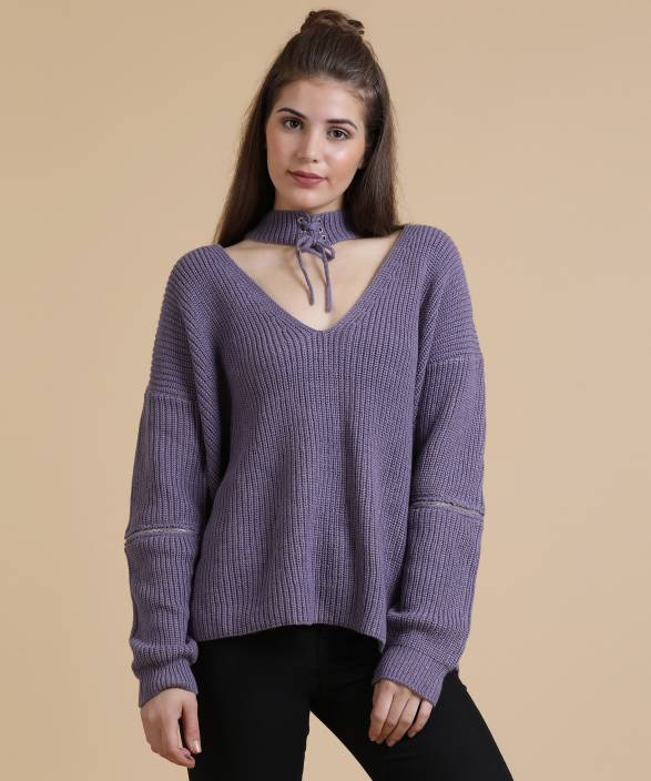 0a096c1e9 Forever 21 Solid V-neck Casual Women s Purple Sweater - Buy DUSTY ...