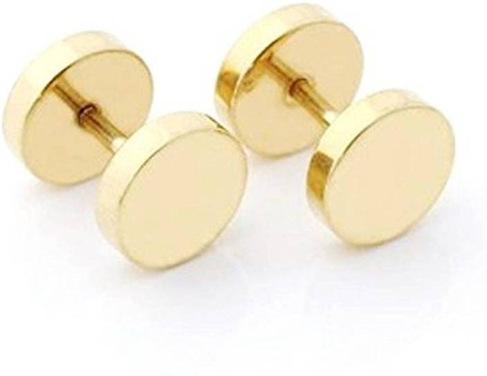 0ed48fb7b Flipkart.com - Buy MadSwag Flat Round Gold stud earrings for men/boys  Stainless Steel Stud Earring Online at Best Prices in India