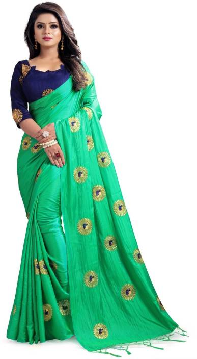 Buy Aquiliq Embroidered Bollywood Silk Green Sarees Online Best