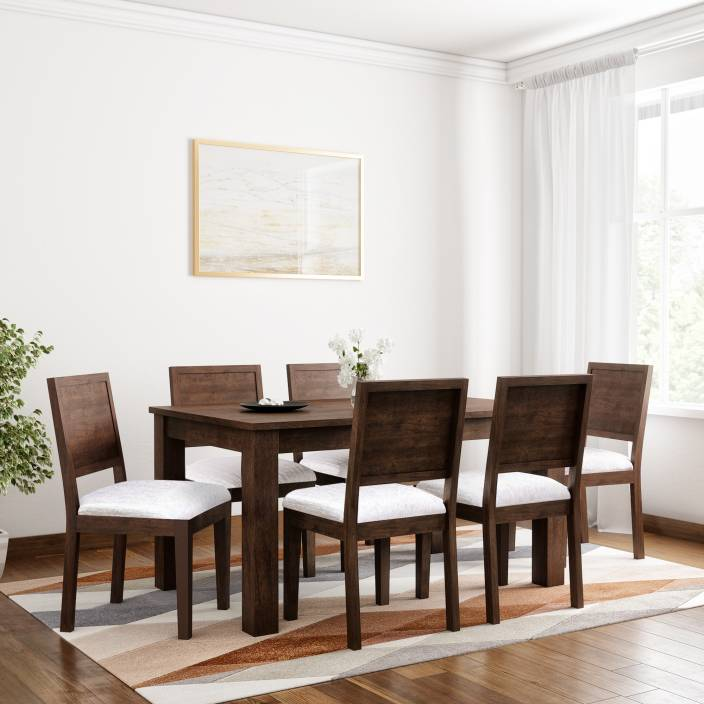 d940ea945e6 Induscraft Arabia Upholstered Sheesham Solid Wood 6 Seater Dining Set  (Finish Color - Brown)
