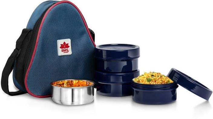 BMS Lifestyle Triangle 2-in-1 Steel & Polypropylene set of 3 Containers Lunch Box