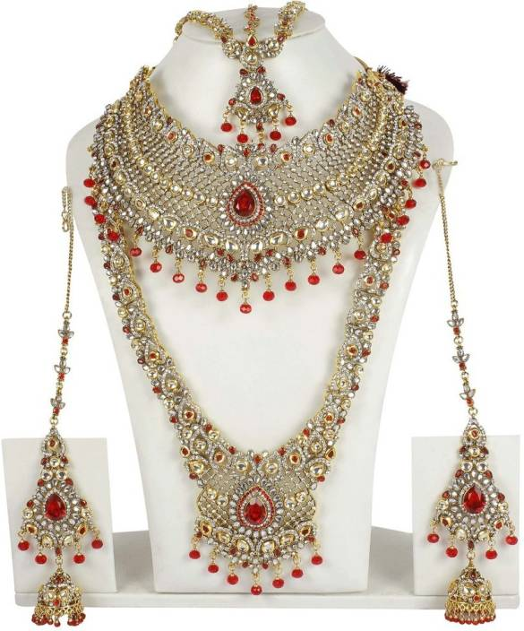 c89c84d97 Muchmore Red White Kundan Bridal Set For Women Wedding Jewellery