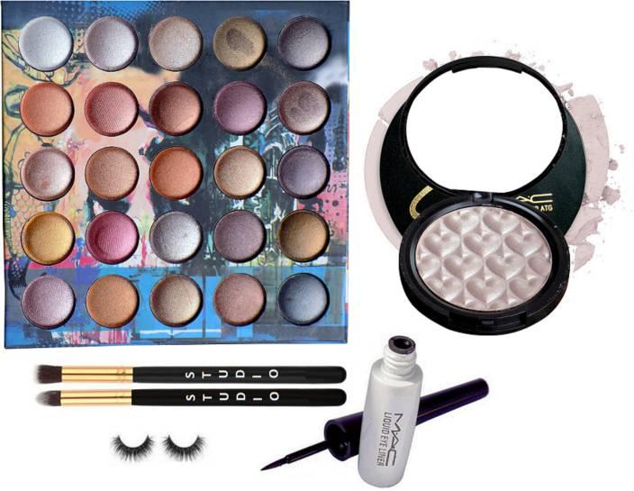 studio Make up Brush 2, Eyelashes, Mac For My Love Eyeshadow Palette, Liquid Eyeliner, Selena Air Cushion Illuminator (Set of 6)