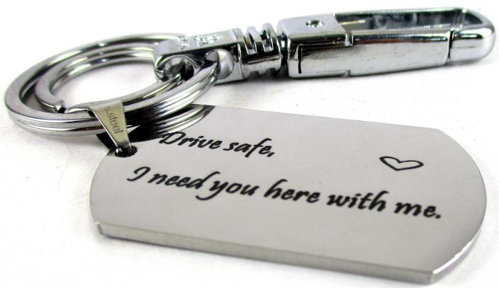Streetsoul Drive Safe Message Engraved Keychain Stainless Steel Silver  Keyring on 2mm Tag Gift for Women & Men  Key Chain