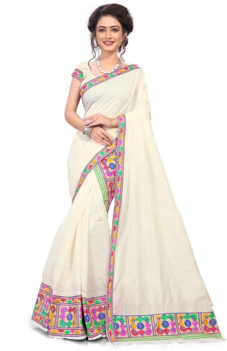 Skiran's Embroidered Mekhela Chador Cotton Saree