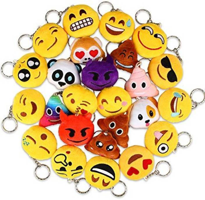 Dreampark Emoji Keychains Mini Poop Key Chain Plush Pillows For Kids Party Favors Birthday Supplies