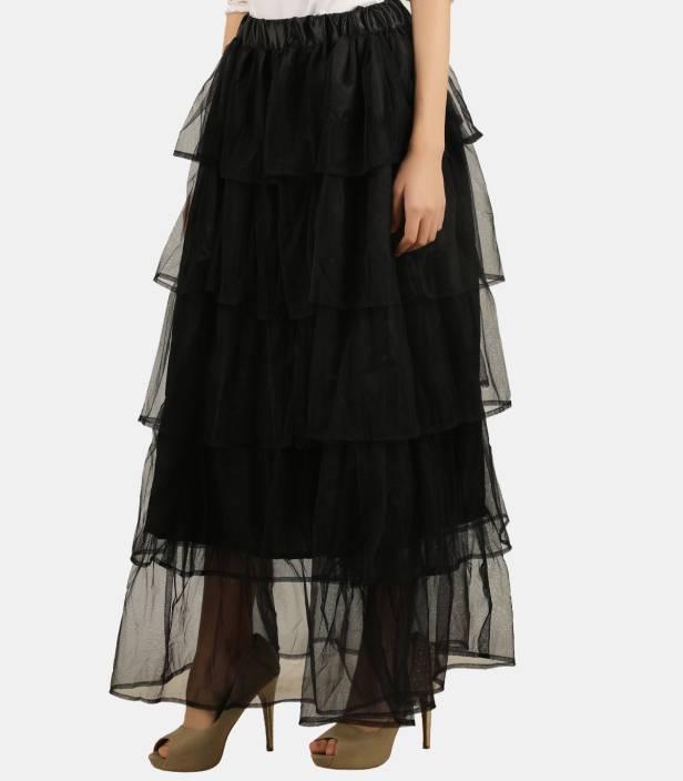 Swathe Solid Women Layered Black Skirt