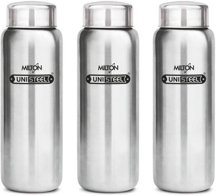 Milton Aqua Stainless Steel Fridge Water Bottle 930 Ml Set Of 3 Silver