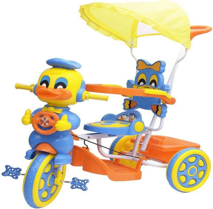 ef206ea34e9 Oximus Baby Tricycle for Kids with Front Back Basket, Canopy & Push Parent  Handle Recommended for ...