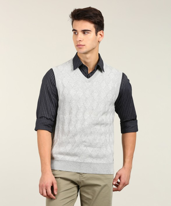 Nautica Self Design V,neck Casual Men\u0027s Grey Sweater