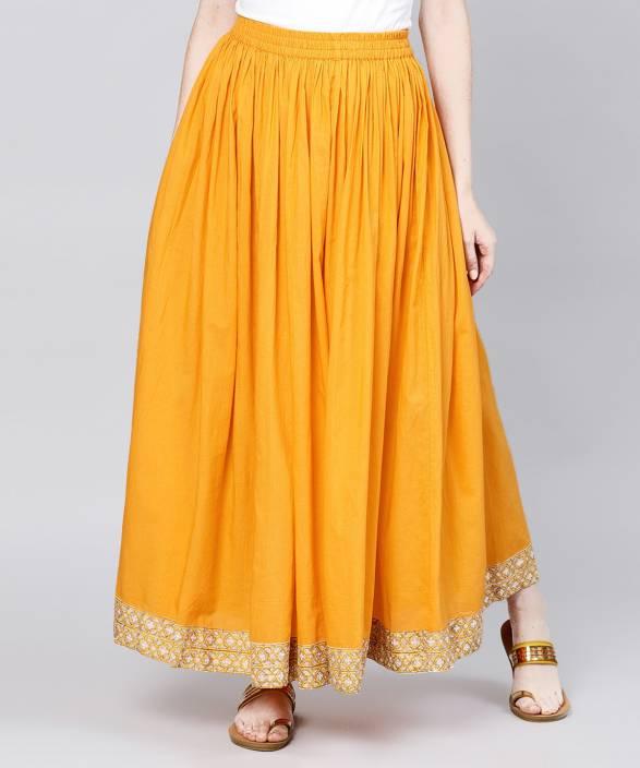 4c27ea1fc Nayo Solid Women's Flared Yellow Skirt - Buy Nayo Solid Women's ...