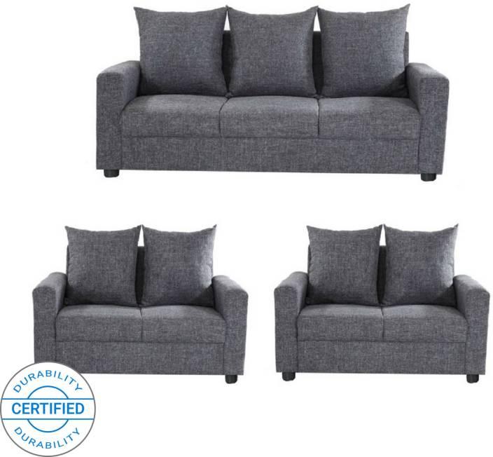db2108d451 GIOTEAK CANBERRA Fabric 3 + 2 + 2 Grey Sofa Set Price in India - Buy GIOTEAK  CANBERRA Fabric 3 + 2 + 2 Grey Sofa Set online at Flipkart.com
