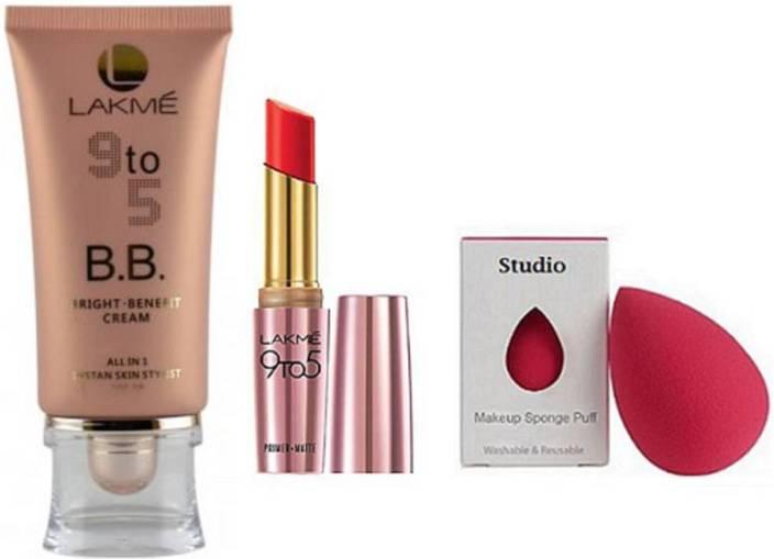 studio Sponge puff,Lakme 9to5 BB Bright Benefit Cream, Primer Matte Lipstick (Set of 3)