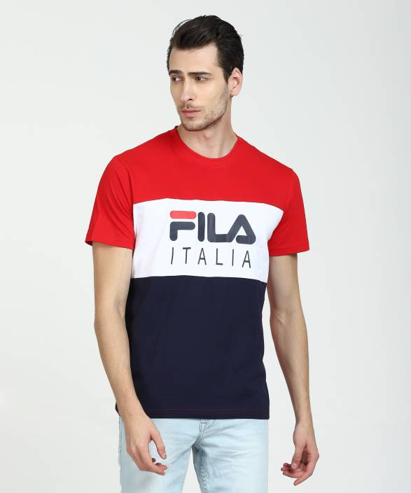 0271086cb Fila Printed Men Round Neck Red, White, Dark Blue T-Shirt - Buy Fila Printed  Men Round Neck Red, White, Dark Blue T-Shirt Online at Best Prices in India  ...