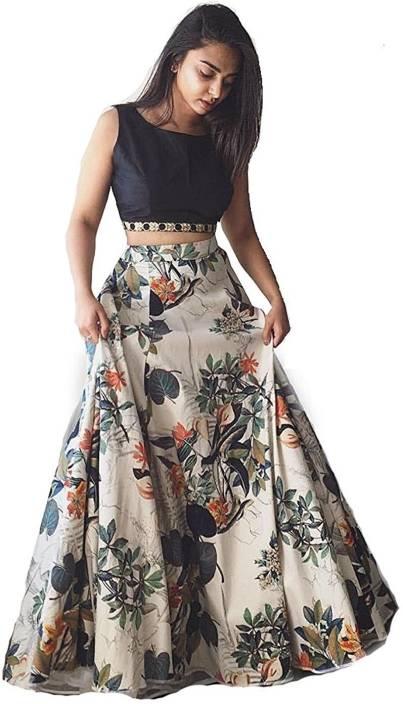 e88337a673344 Aika Floral Print Lehenga   Crop Top - Buy Black Aika Floral Print ...
