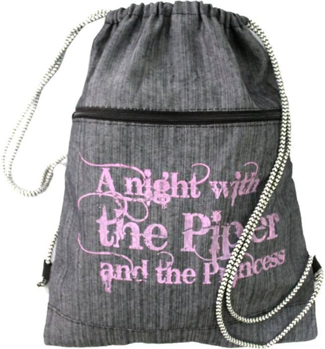 Best Bags Grey Denim Drawstring Dori Bag 17 L Backpack