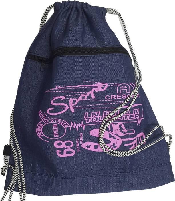 Best Bags Blue Denim Drawstring Bag 17 L Backpack