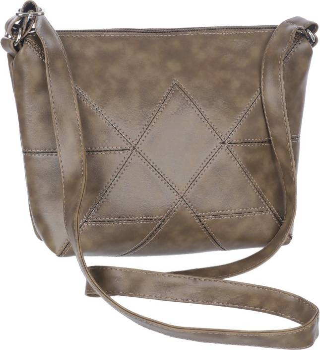 Leather Land Women Casual Khaki Leatherette Sling Bag