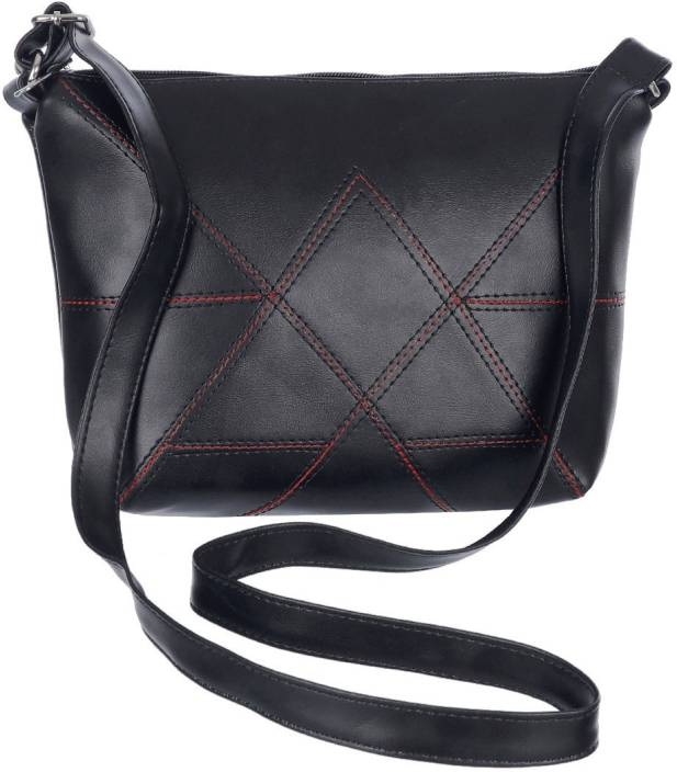 Leather Land Women Casual Black Leatherette Sling Bag
