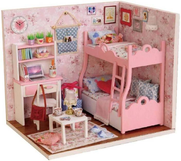 Webby Wooden Diy Kids Miniature Bedroom Doll House With Lights Pink
