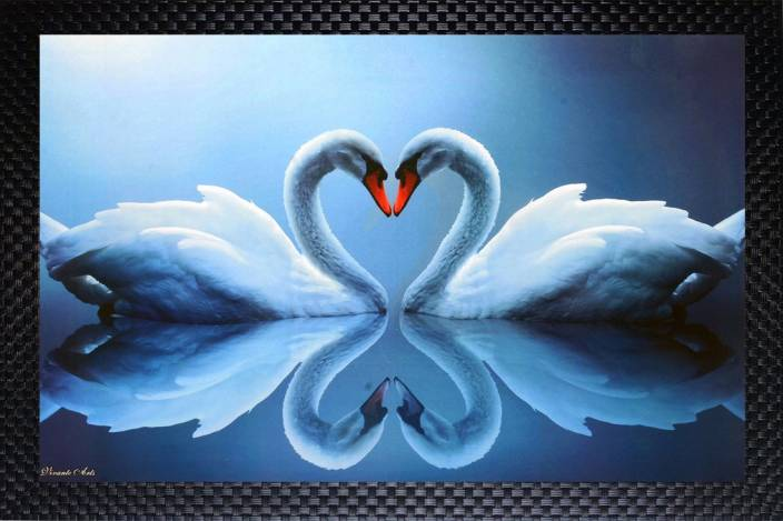 Janki Love Bird Duck In Water Wall Painting Digital Reprint 14 Inch X 20 Inch Painting