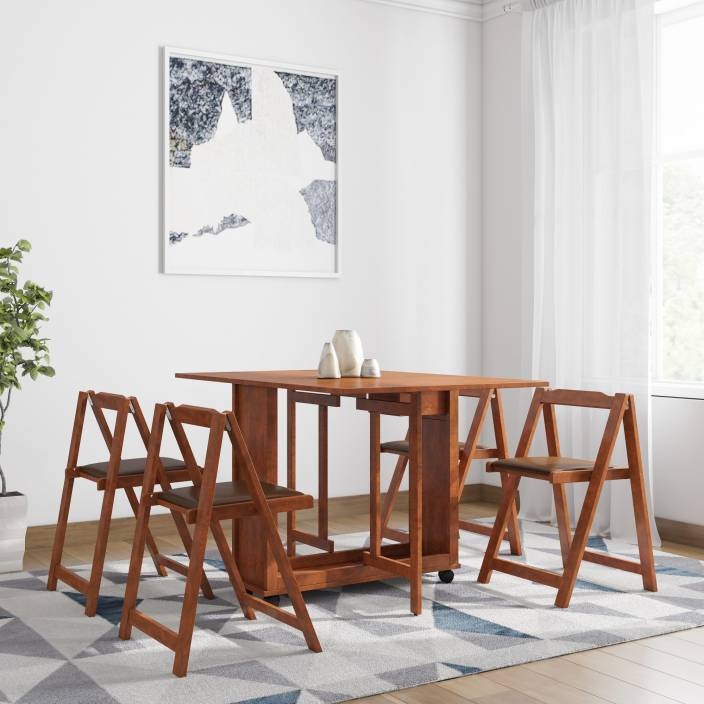 1488fa29b HomeTown Compact Folding Solid Wood 4 Seater Dining Set (Finish Color -  Walnut)