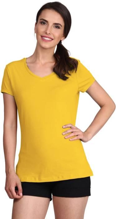 fe7b2efa295 Jockey Solid Women s V-neck Yellow T-Shirt - Buy Banana Cream Jockey ...