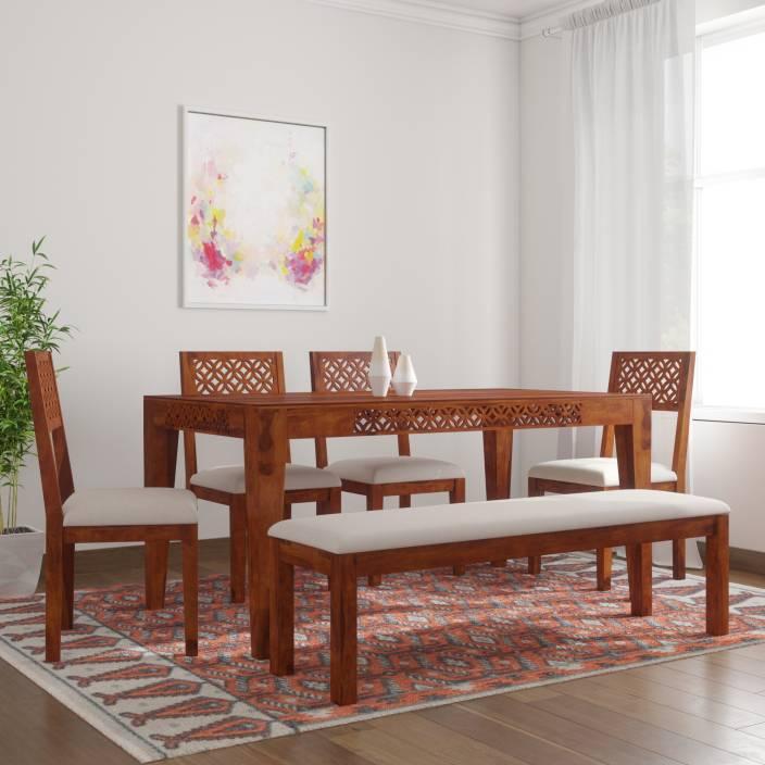 bdfa69c414 The Attic Jasmine Upholstered Sheesham Solid Wood 6 Seater Dining Set  (Finish Color - Honey)