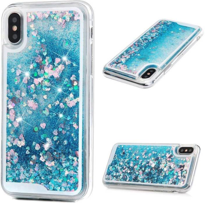 6faf6f10308bc4 DORRON Back Cover for iPhone X / iPhone 10 Glitter Bling Stylish Soft  Transparent Liquid Floating Love Heart For Girls (Blue, Shock Proof,  Flexible Case)