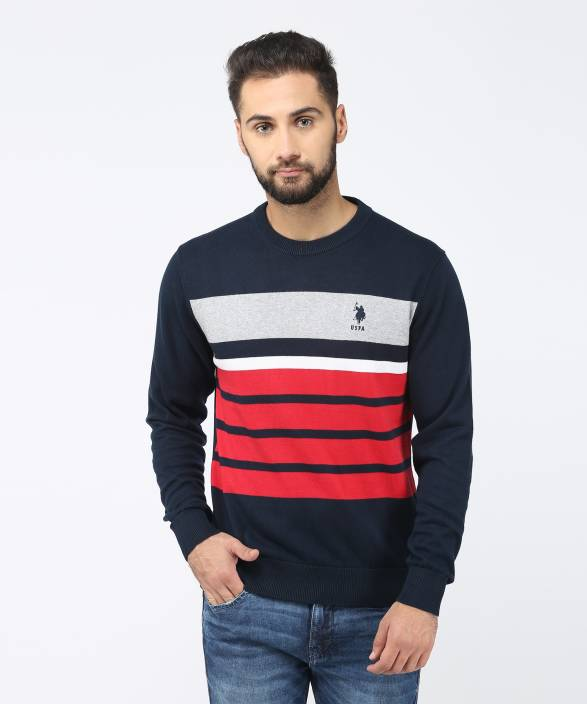 5e4af70bb U.S. Polo Assn Striped Round Neck Casual Men s Blue Sweater - Buy U.S. Polo  Assn Striped Round Neck Casual Men s Blue Sweater Online at Best Prices in  India ...