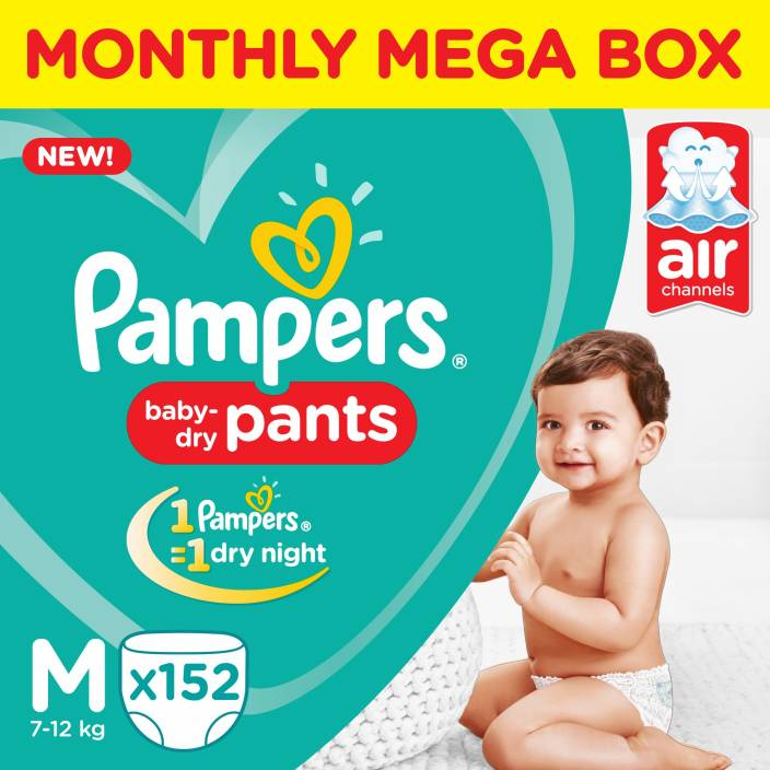 Pampers Pants Diapers Monthly Box Pack New - M