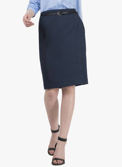 FabAlley Solid Women Pencil Blue Skirt
