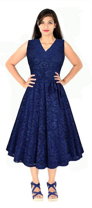 6ee0d6bf69a8 sardar fashion Women Fit and Flare Blue Dress - Buy sardar fashion Women  Fit and Flare Blue Dress Online at Best Prices in India
