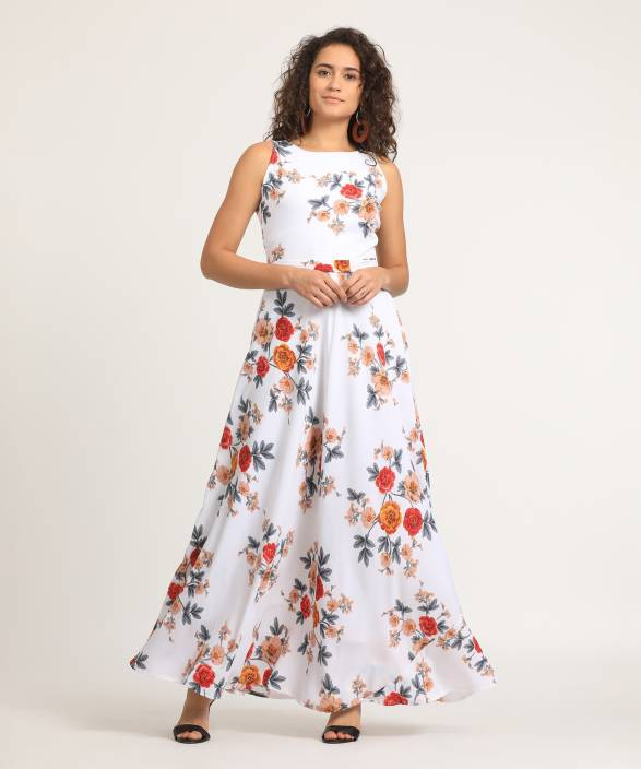 763c961a1 Tokyo Talkies Women s Maxi White Dress - Buy Tokyo Talkies Women s Maxi  White Dress Online at Best Prices in India