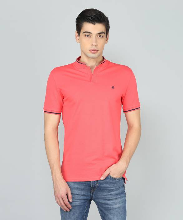 f1519b2f United Colors of Benetton Solid Men Mandarin Collar Pink T-Shirt - Buy  United Colors of Benetton Solid Men Mandarin Collar Pink T-Shirt Online at  Best ...