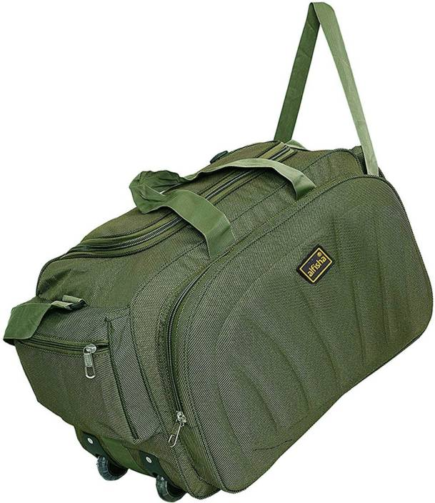 1801279963ff alfisha Lightweight Waterproof Luggage Travel Duffel Bag with Roller wheels  Travel Duffel Bag (Green)