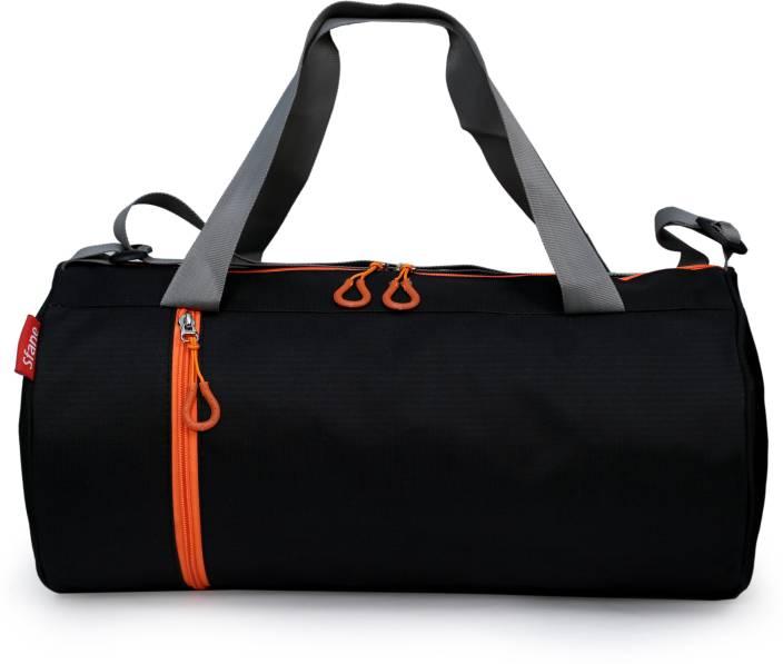 b3373d2b42 sfane Trendy Men   Women Black Sports Duffel Gym Bag (Orange