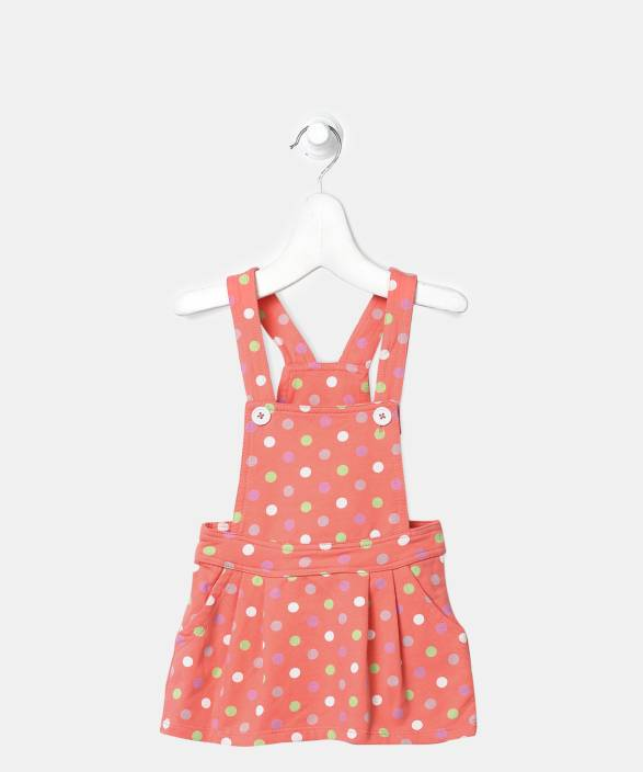 09a2c3508cd United Colors of Benetton Dungaree For Girls Polka Print Cotton (Orange