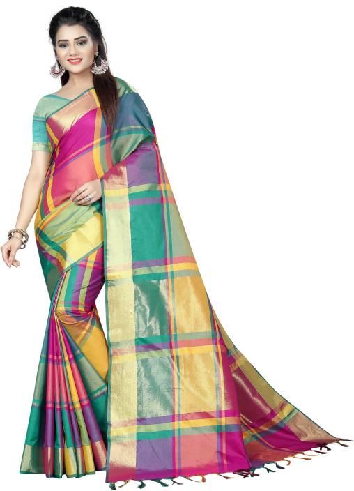 270983c23 Buy SILK ZONE Checkered Fashion Art Silk Multicolor Sarees Online ...