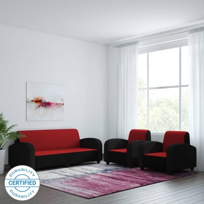 Bharat Lifestyle Quatra Fabric 3 + 1 + 1 Red & Black Sofa Set Price ...