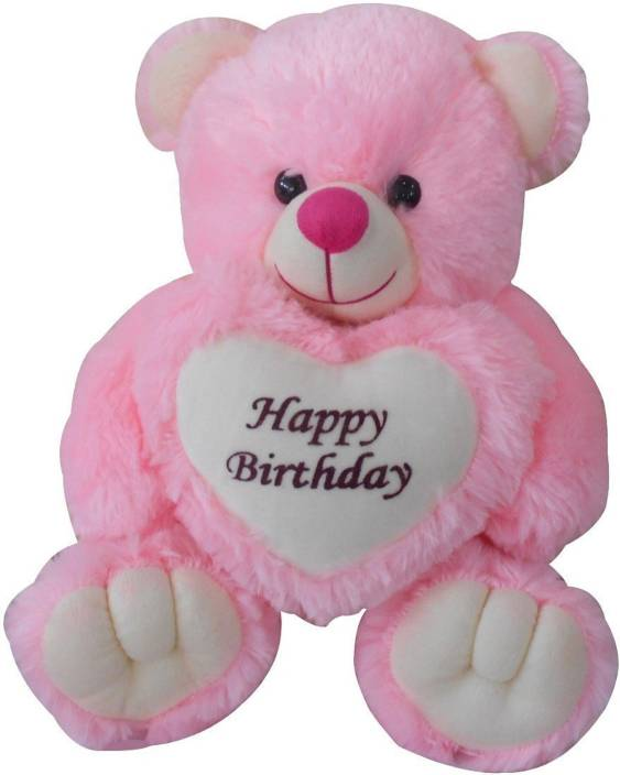 TOYS LOVER Happy Birthday Teddy Bear Soft Toy Colors Pink Size 40 Cm With Greeting Card