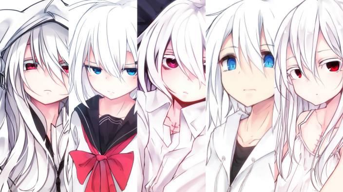 Athah Anime Original School Uniform Hoodie Long Hair Red Eyes White